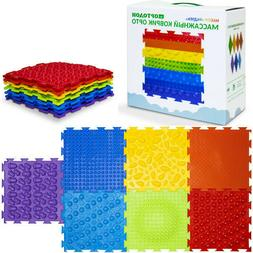 Rainbow Set of Massage Game Mats for Kids Floor Play mat by
