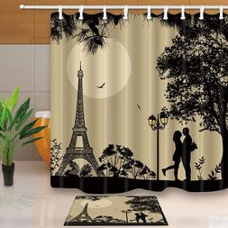 Paris Decor Fall in love under Tower Mildew Shower Curtain S
