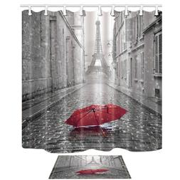 Paris France Decor Red Umbrella in Rain Tower Mildew Shower