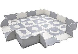 Baby Play Mat with Fence | Superjare Thick  Interlocking Foa