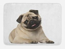 Pug Bath Mat Young Puppy Lying on Floor Non-Slip Plush Mat,