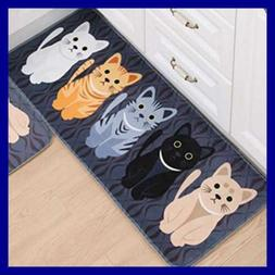 Rectangle Cartoon Lovely Cats Kitty Pattern Mat Rug For Sta