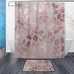 Wamika Rose Gold Marble Floral Bath Shower Curtain, Marble M