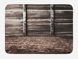 Rustic Bath Mat Brick Floor Wooden Wall Non-Slip Plush Mat,