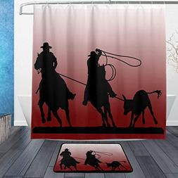 DJROW Team Roping Silhouette Shower Curtain and Bath Rug Set