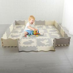 "Baby Play Mat Gym 16 Tiles 55"" Kids Soft Interlocking Foam F"