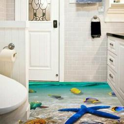 US 3D Removable Floor Wall Sticker Bathroom Vinyl Sea Printe