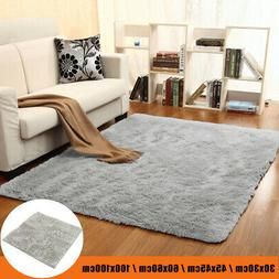 US Gray Fluffy Plush Carpet Anti-Skid Floor Bedroom Living R