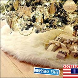 USA Long Plush Snow Flake Christmas Tree Skirt Base Floor Ma