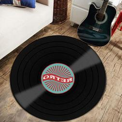 Vinyl Record Pattern Printed Soft Round Floor Mat Carpet Roo