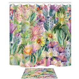 Watercolor Blooming Cactus Flowers 69X70in Mildew Resistant