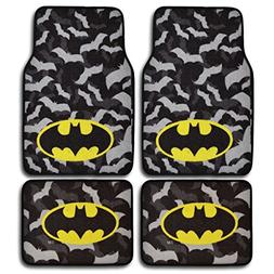 BDK WBMT2301 Black/Gray Batman Carpet Floor Mats 4 Piece Set